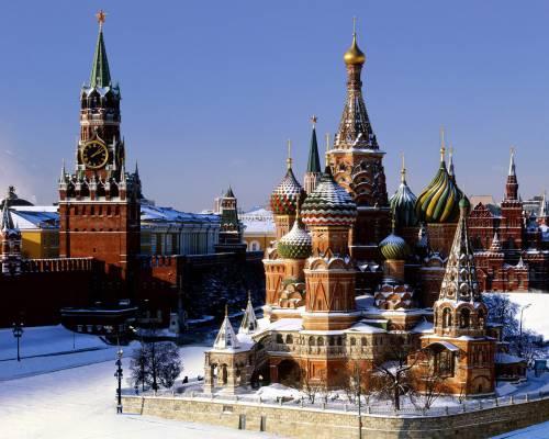 Храм Василия Блаженного зимой в Москве, Россия